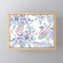 Pretty Blue Pink Succulents Garden Framed Mini Art Print