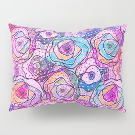Watercolour & Rainbow Ink Flowers , Colorful Floral Painting Pillow Sham