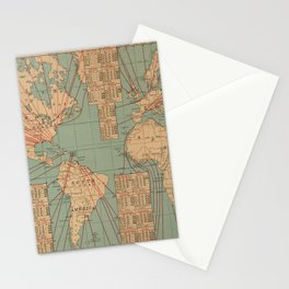 Vintage World Map Shipping Routes and Speeds (1923) Stationery Cards