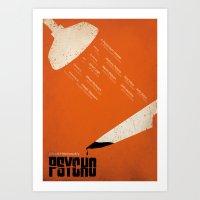 psycho Art Prints featuring Psycho by Ollie Boyd