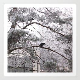 Winter crow. Art Print