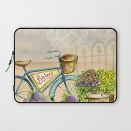 Old bike and flowers watercolor painting Laptop Sleeve