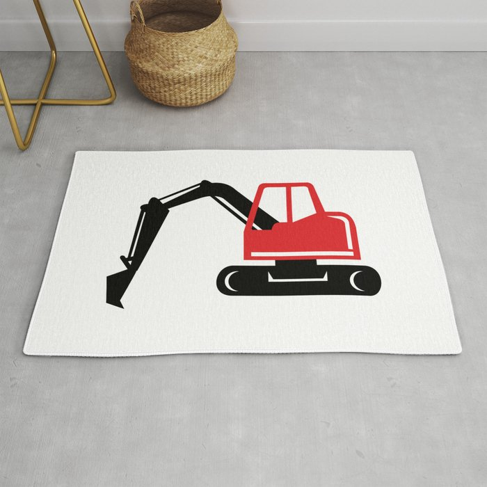 Mechanical Excavator Digger Retro Icon Rug