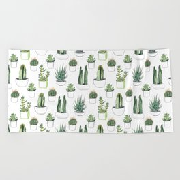 watercolour cacti and succulent Beach Towel