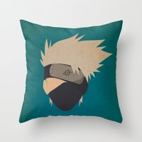 kakashi Throw Pillows featuring Kakashi Hatake Simplistic face by JamiePowellPrints