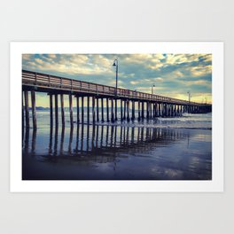 Just Wandering along the beach at Cayucos Pier Art Print