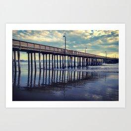Just Wandering along the beach at Cayucos Pier Art Print