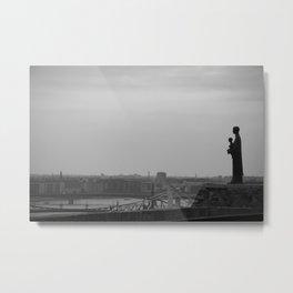 Budapest statue b&w Metal Print