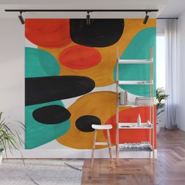 Mid Century Modern Abstract Minimalist Retro Vintage Style Rolie Polie Olie Bubbles Teal Orange Wall Mural