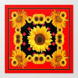 Red Western Yellow Sunflowers Art Canvas Print