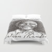mandela Duvet Covers featuring Nelson Mandela by Yonk