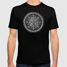 White Flower Mandala on Black Mens Fitted Tee Black X-LARGE