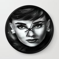 audrey Wall Clocks featuring Audrey  by Lily Fitch