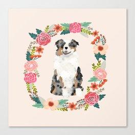 australian shepherd blue merle floral wreath dog gifts pet portraits Canvas Print