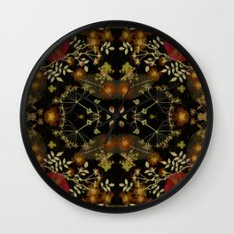 Dark Floral Roses Wall Clock