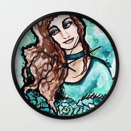 Turquoise Jaded Girl Wall Clock