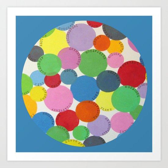 Word Bubbles Blue Art Print