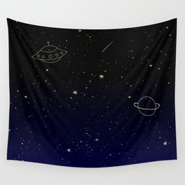 Space Trip to Saturn Wall Tapestry