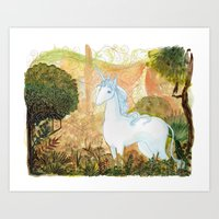 the last unicorn Art Prints featuring Last Unicorn by Morgan Allain, The Inkling Girl