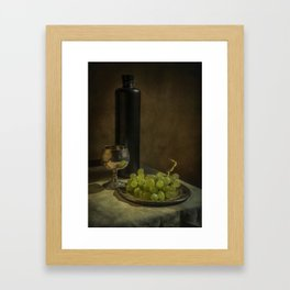 Still life with wine and green grapes Framed Art Print