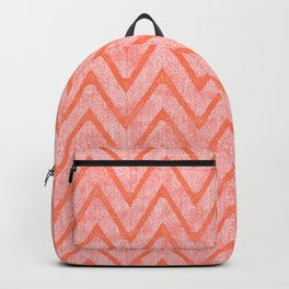 Salmon Color Faux Velvet Zigzag Pattern Backpack
