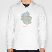 brussels Hoodies featuring Brussels typo map by zldrawings
