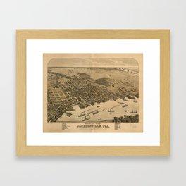 Vintage Pictorial Map of Jacksonville FL (1874) Framed Art Print