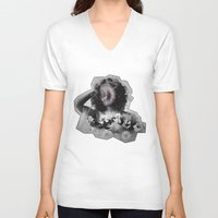 geode V-neck T-shirts featuring Geode Face by hunnydoll