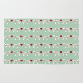 Bedlington Terrier dog breed hearts love unique dog breed gifts by pet friendly Rug