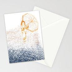 raining girl Stationery Cards