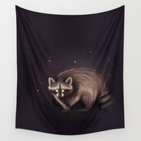 raccoon Wall Tapestries featuring Raccoon by erikakettle