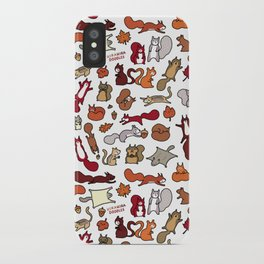 Squirrels in Fall Doodle iPhone Case