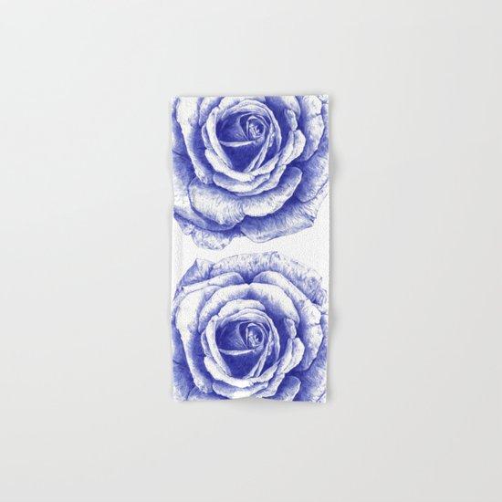 Ballpoint Blue Rose Hand & Bath Towel