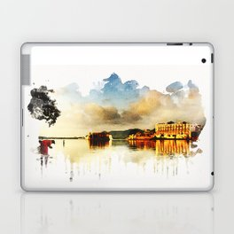 Indian watercolor impression with lat and palace in Udaipur, Rajasthan Laptop & iPad Skin