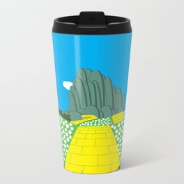 Pengwins that are following a brick road that is yellow Metal Travel Mug