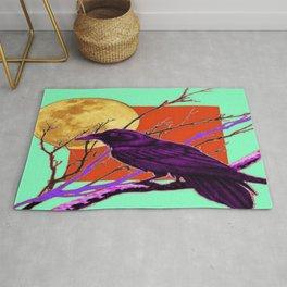 Surreal Purple-green  Mystic Moon Crow/Raven Moon Abstract Rug