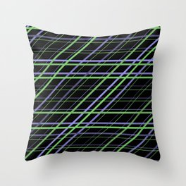 Minimalist Purple and Green Geometric Criss Cross Lines on Black Background Throw Pillow