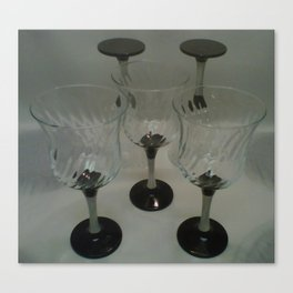Silver & Black Stemmed Parfait Glasses Canvas Print