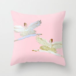 Angels on pink, Christmas Nutcracker ballet Throw Pillow