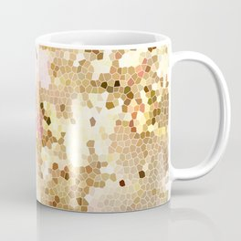Flower Mosaic Millennial Pink and Golden Yellow Abstract Art | Honey Comb | Geometric Coffee Mug