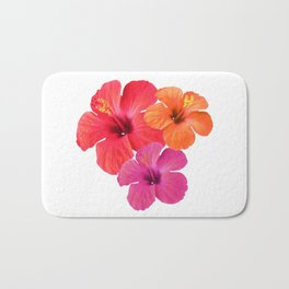 Red Orange Pink Hibiscus Bath Mat
