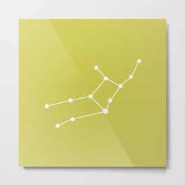 Virgo Zodiac Constellation - Vibrant Green Metal Print