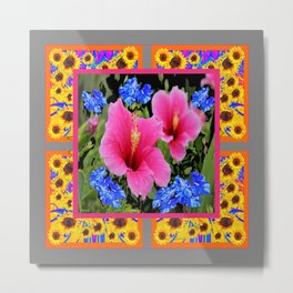 GREY PINK TROPICAL HIBISCUS BLUE-YELLOW FLOWERS Metal Print
