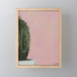 Pink Cactus, Impressionist Digital Painting Framed Mini Art Print