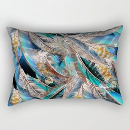 Fashion pattern with blue feathers. Trendy design Rectangular Pillow
