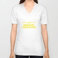 tarantino V-neck T-shirts featuring Written And Directed By Quentin Tarantino by FunnyFaceArt