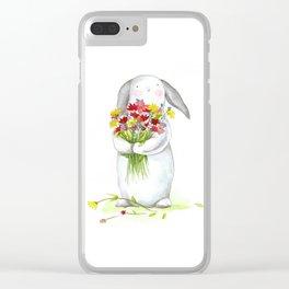 Flower Bunny (nursery art, art for children) Clear iPhone Case