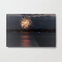 Fireworks Over Lake 10 Metal Print
