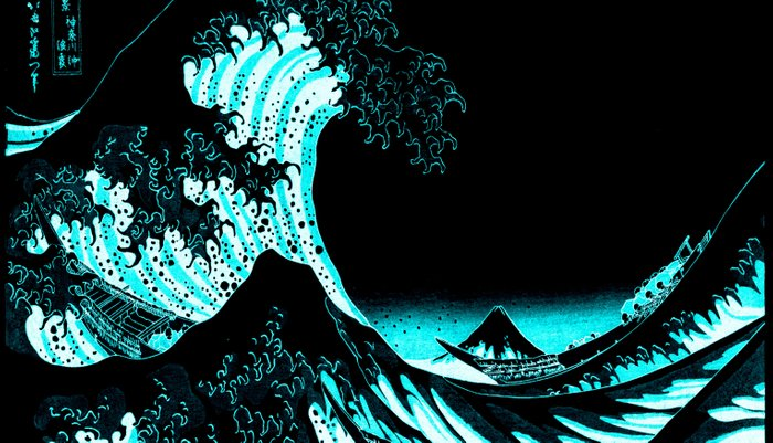 The Great Wave : Dark Teal Pillow Sham