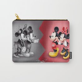 Old School New School Mickey and Minnie  Carry-All Pouch